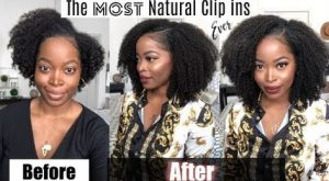 before and after of natural clip ins