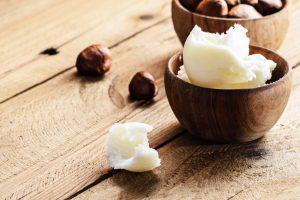 hair cream in a wooden bowl