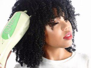 Woman steaming curls