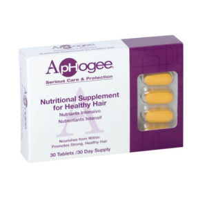 ApHogee nutritional hair supplements, white & purple box
