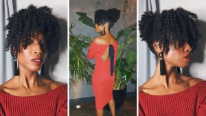 cute and easy updo, natural hair
